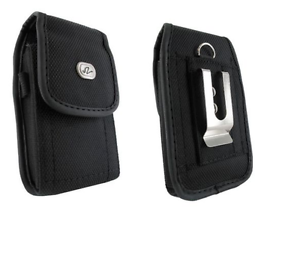 Black-Canvas-Belt-Case-Holster-Pouch-w-Clip-Loop-for-Nokia-808-RM-807-PureView