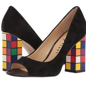 3863cc41be10 Details about Katy Perry CAITLIN Black Suede Rubik s Cube Block Heels Open  Toe Pumps Wms NWOT