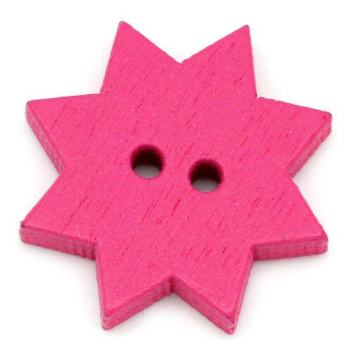 10 Pièces holzknöpfe 20 mm Fleur Étoile 2 Trous 1,8 mm-Bois Bouton holzknopf #