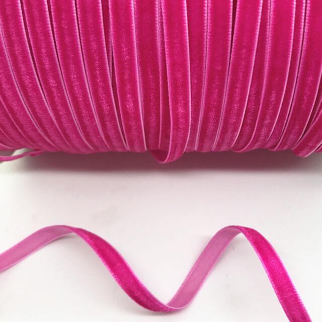"New DIY 5 yards 3//8 /""10mm Velvet Ribbon Headband Clips Bow Decoration NO27"
