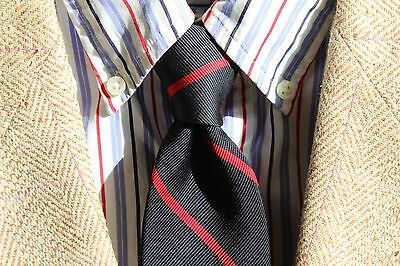 Lands' End Gent's Long Black & Red Striped All Silk 'Big & Tall' Necktie USA