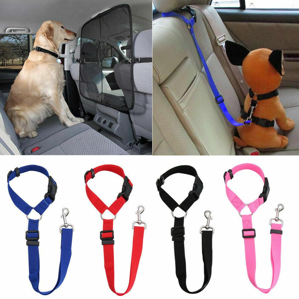 Pet Dog Car Seat Belt Lead Clips Safety Harness Restraint Car Van Journey Travel 2