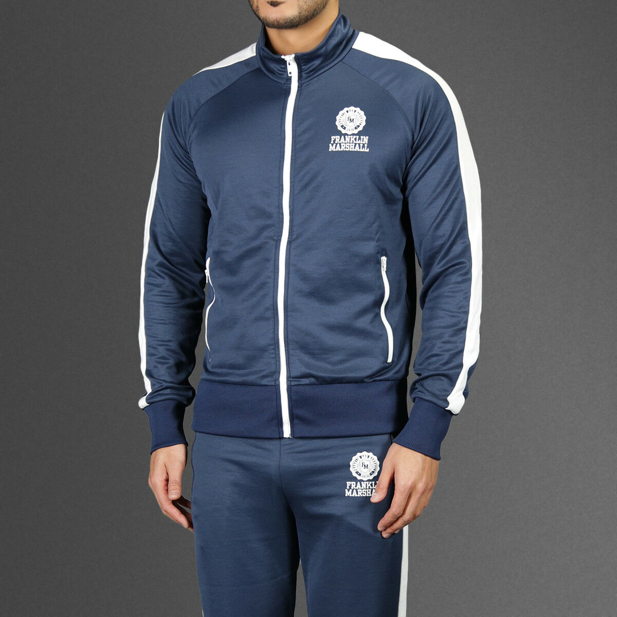 Franklin Marshall Mens Retro Tennis Tracksuit Jacket & Joggers Navy Weiß Medium