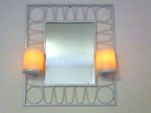 2 x led kerzen mit wandhalter mit spiegel in echtwachs ebay. Black Bedroom Furniture Sets. Home Design Ideas