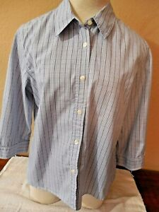 Talbots-Blue-amp-White-Plaid-100-Cotton-3-4-Sleeves-Shirt-Size-Medium