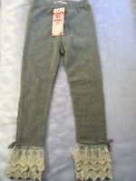 Girls 4t Boutique Gray Crochet Pearl Hem Leggings Stretch