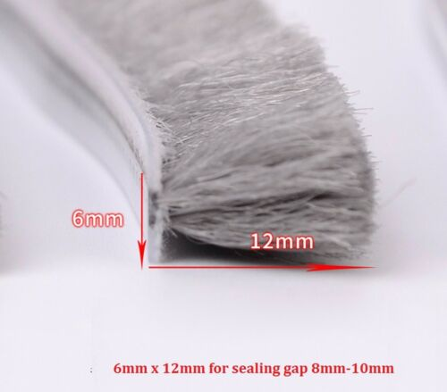 3x9mm to 7x12mm Hairy Worm Door Window Brush Draught Excluder Pile Seal Strip