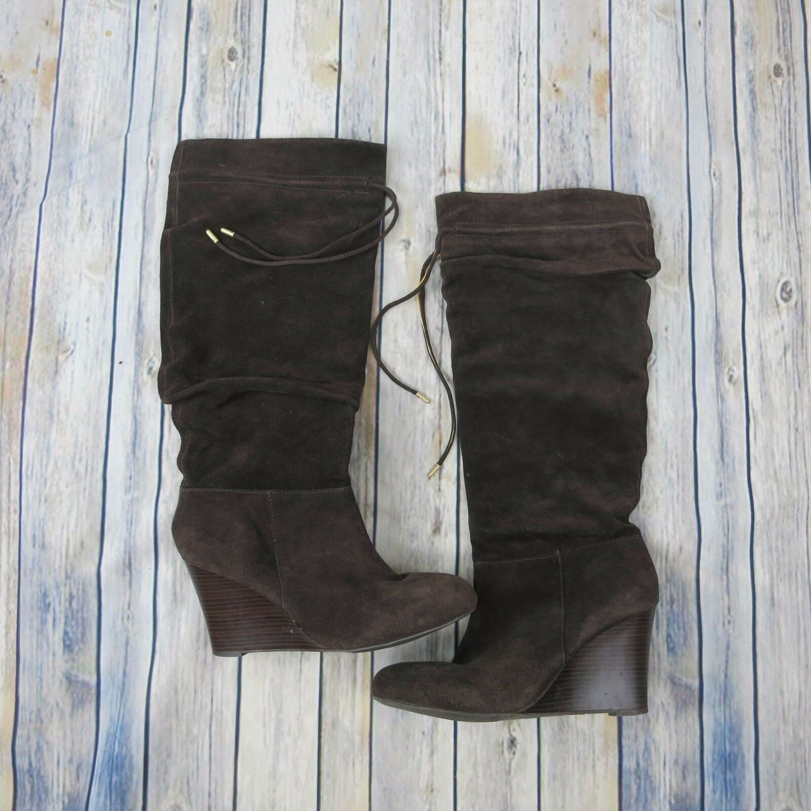 INC International Concepts Maia Boots 10 Knee HighBrown Suede Wedge Slouchy