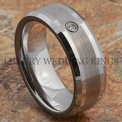 Tungsten Ring Mens Wedding Band Brushed Stripe Center Bridal Jewelry Size 6-13