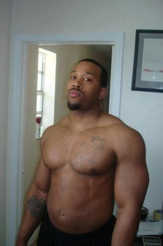 Shirtless Male Muscular African American Body Builder Hunk Goatee 4X6 PHOTO N360