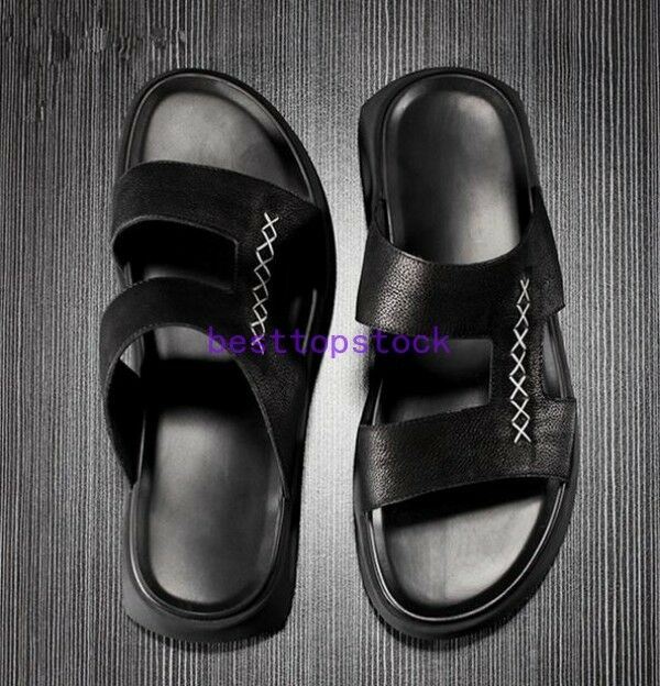 2018 Summer Roman Occident Uomo Loafers Pelle Beach Shoes Flip Flops Sandals