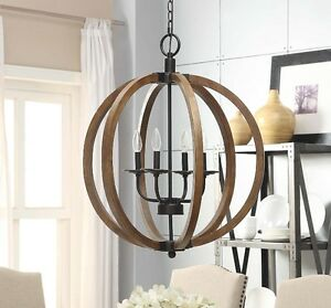 Details About Rustic Light Fixtures Ceiling Orb Wood Chandeliers For Dining Rooms Entryway New