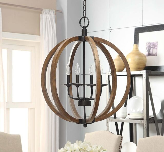 Rustic Light Fixtures Ceiling Orb Wood Chandeliers For Dining Rooms  Entryway NEW