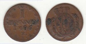 Erhaltung-Cu-1-Pfennig-1806-H-Sachsen-sonst-ueblicherweise-034-abgelutscht-034