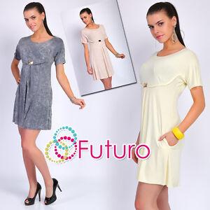 797c6b7a9ceb Caricamento dell immagine in corso donna-mini-vestito -a-palloncino-con-tasche-girocollo-