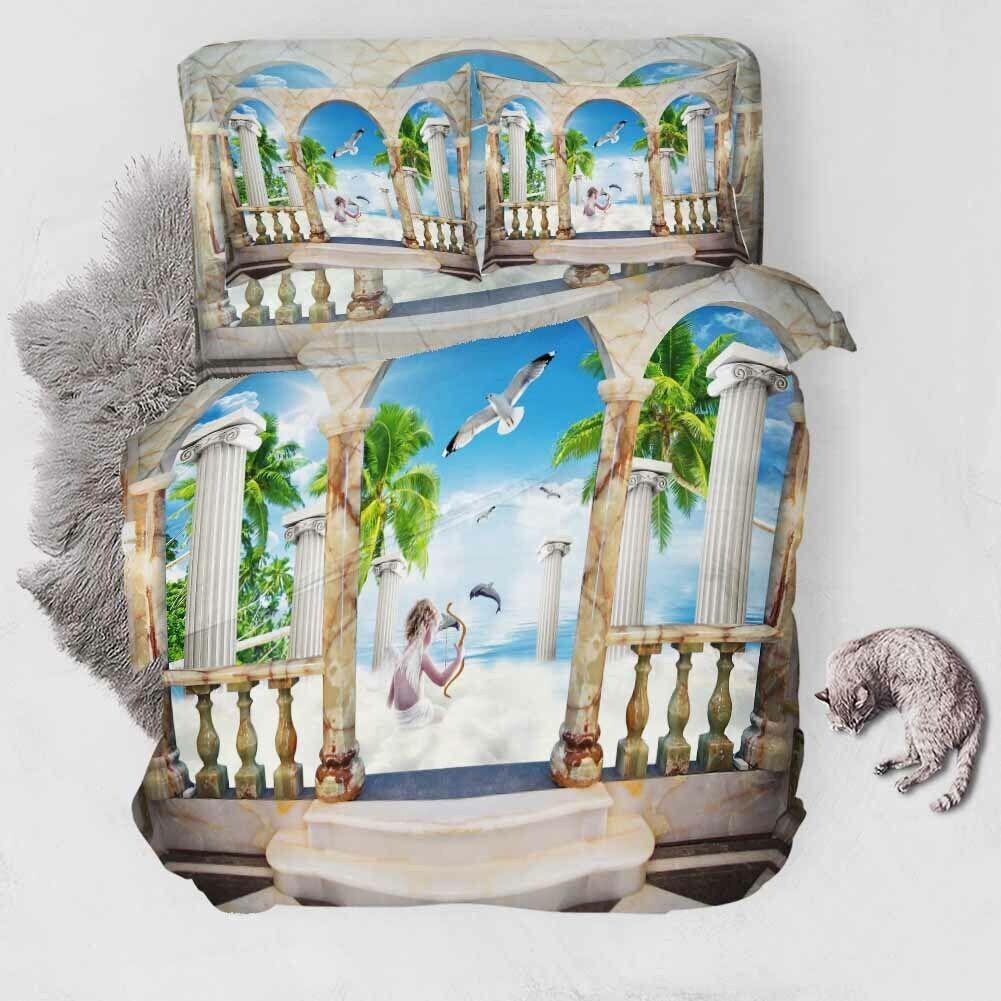 Pillars blanc Sea 3D impression couette courtepointe volonté des couvertures PilFaible cas literie ensembles