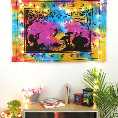 Indian Wall Hanging Cotton Mushroom Table Cover Poster Size Ethnic Yoga Mat Art