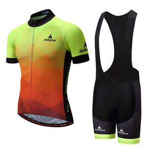 Men-039-s-Reflective-Cycling-Kit-Bike-Short-Sleeve-Jersey-amp-Padded-Bib-Shorts-Set