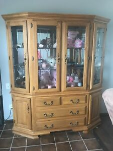 Image Is Loading Solid Wood Curio Cabinet Glass Shelves 3 Light