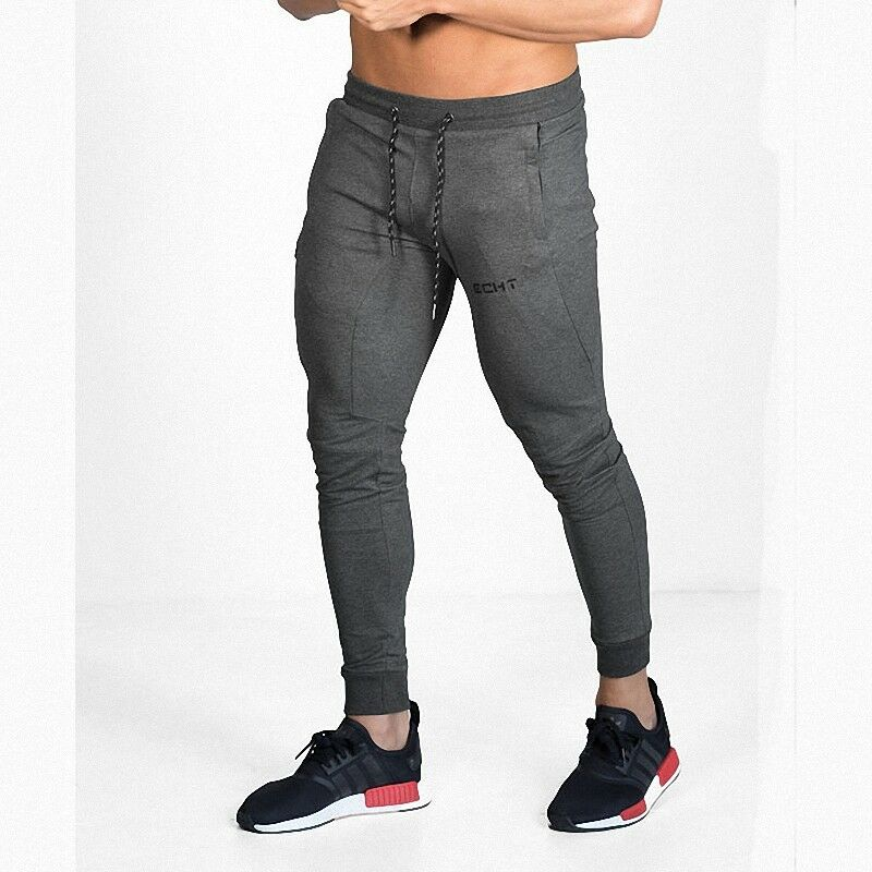 Men/'s Bodybuilding Athletic Casual Jogger Slim Fit Skinny Sweatpants ECHT Logo