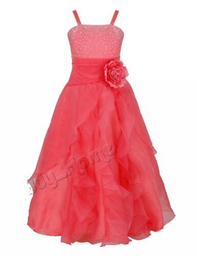 UK Flower Girls Dress Children Party Wedding Pageant Princess Prom Long Dresses