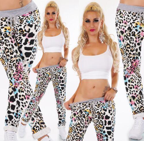 ITALY Damen Hose Sweat Baggy JogPants Freizeithose Jogging Leopard Blumen Mix