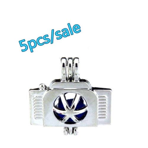 Silver 22mm Camera Beads Pearl Cage Locket 8mm K218-5pcs Bulk Sale