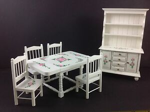Dollhouse Miniature Kitchen Furniture White Wood Dining Table Cabinet Set 1:12
