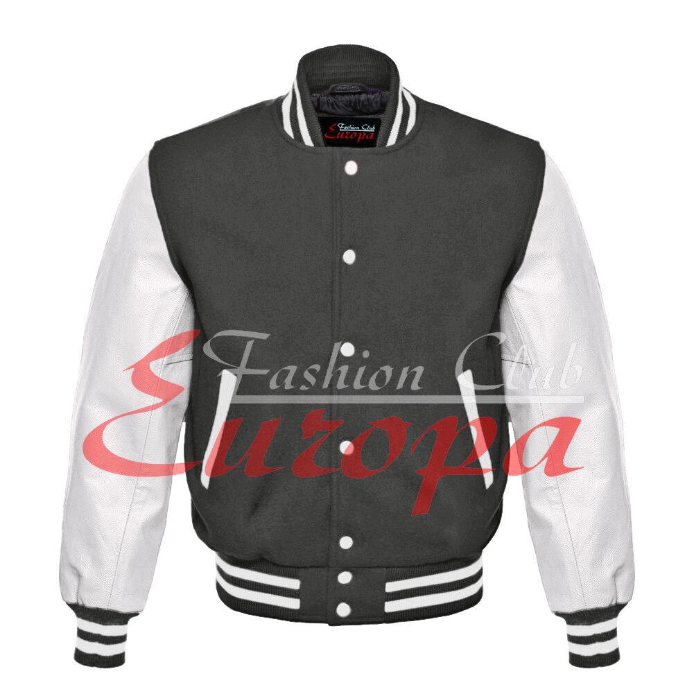 American Unisex blancoo Manga De Cuero Real Universidad  Varsity Letterman chaqueta de lana  marcas de diseñadores baratos
