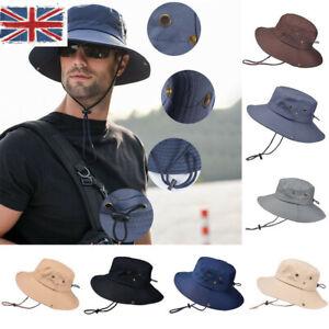 769ca7f361454 UK Outdoor Men s Sun Hat Bucket Fishing Hiking Cap Wide Brim UV ...