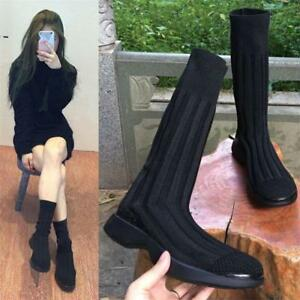 Womens-Black-Cotton-Stretchy-Sock-Knitting-Fashion-Sneakers-Flat-Ankle-Boots-HOT