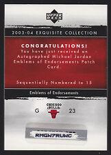 2003/04 EXQUISITE MICHAEL JORDAN EOE PATCH JERSEY AUTO REDEMPTION SP/15 REDEEMED