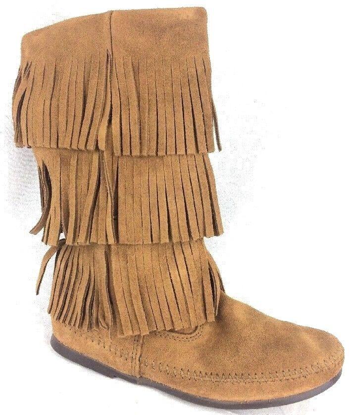 Minnetonka 1638 Womens 3 Layer Fringe Fashion Leather Boots Dusty Brown Size 9 M