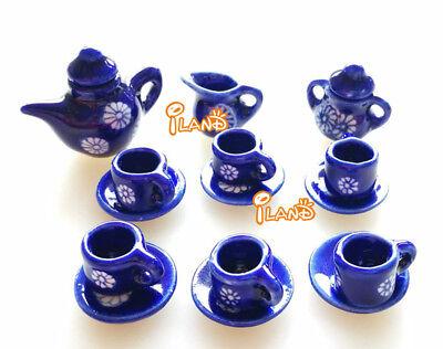 New Dollhouse Miniature Porcelain Blue Tea//Coffee set Dish Cup Plate Pot DC037