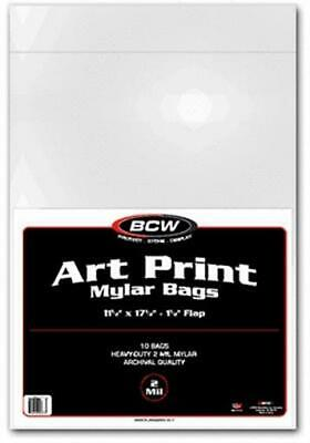 11.5 X 17.5 archival 11x17 sleeves Pack of 10 BCW 2 mil Art Print Mylar Bags