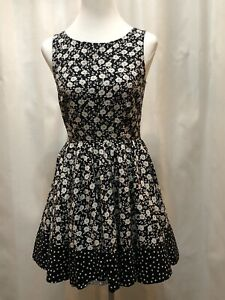 d782068009e93 LC Lauren Conrad Dress Size 6 Black Floral Polka Dot A Line Peek A ...