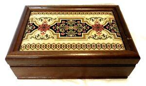 Vintage London Leather Floral Tapestry Oak Wood Wooden