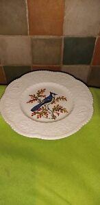 Vintage-Royal-Cauldron-Bristol-Ironstone-Blue-Jay-Bird-plate-Henry-A-Pausch