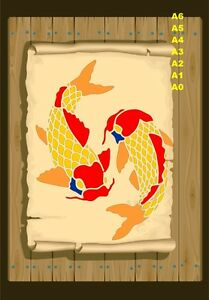 2-Koi-Carp-Fish-Stencil-350-micron-Mylar-not-thin-stuff-Fish06