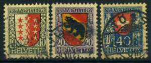 Switzerland-1921-Mi-172-174-Used-100-Pro-Juventute-Coat-Of-Arms