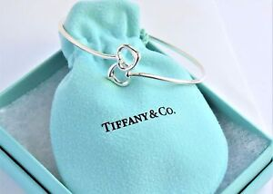 146e0250a Tiffany & Co Elsa Peretti Silver Double Open Heart Bangle Bracelet ...