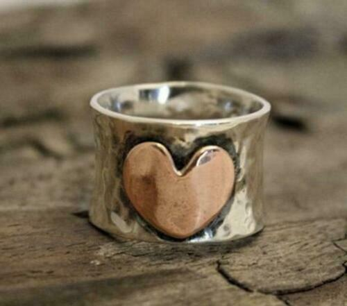 925 Sterling Silver Wide Band /& Copper Jewelry Ring Handmade Statement All Size