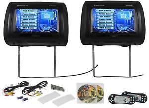 Rockville-RTSVD-961-BK-9-034-Noir-Ecran-Tactile-Double-DVD-HDMI-appuie-tete-Voiture-Moniteurs