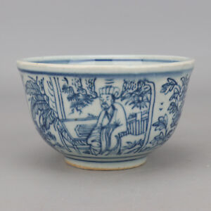 China-antique-Porcelain-Ming-wanli-blue-white-hand-painting-character-cup-bowl