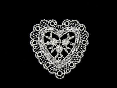 """2.75"""" x 2.5"""" White Rayon Heart Venise Lace Motif Applique Patch by Piece"""