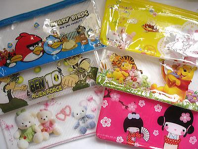 Children/'s Character Flat Zipper Pencil Case School Kids Boys Girls Stationery