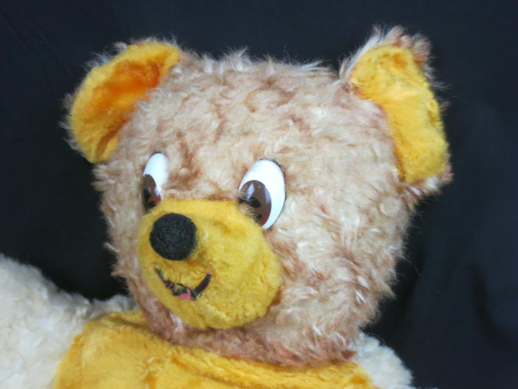 VINTAGE STERLING BEAT EVER PROD braun Gelb CREAM TEDDY BEAR PLASTIC EYES PLUSH