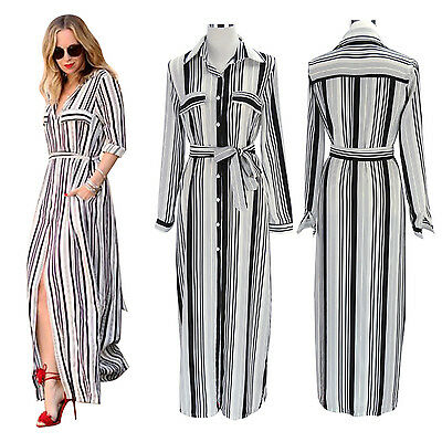 Lady Summer Long Sleeve Striped Split Maxi Long Shirt Dress for Cocktail Party