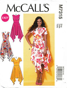 ce9053df695 MCCALL S SEWING PATTERN 7315 MISSES 14-22 V-NECK DRESS FLARED SKIRT ...