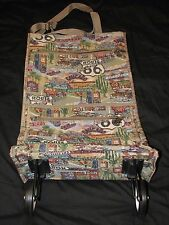 Route 66 Fabric Tapestry Shopping Travel Bag on Wheels Folds up Luggage Tote